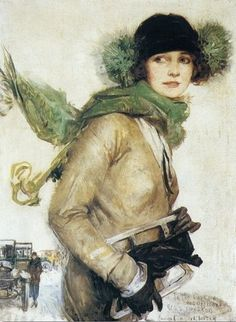 "Howard Chandler Christy (American Illustrator, 1873-1952) . ""A good day for skating"", 1923"
