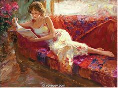Vladimir Volegov The Red Couch oil painting for sale; Select your favorite Vladimir Volegov The Red Couch painting on canvas or frame at discount price. Reading Art, Woman Reading, Reading Books, Vladimir Volegov, Paintings For Sale, Art Paintings, Figure Painting, Beautiful Paintings, Female Art