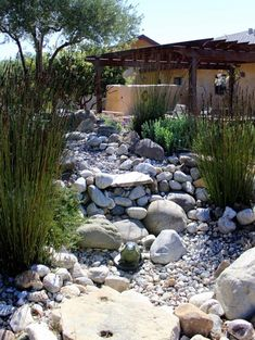 Using pebbles and rocks you can create a dry river bed that meanders through the garden. These features work well in an indigenous or water-wise garden design, as well as assisting with natural drainage for excess water. Landscaping With Large Rocks, Water Wise Landscaping, Home Landscaping, Bamboo Landscape, Landscape Design, Xeriscape California, Perth, Patio Design, Garden Design