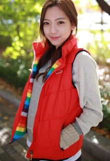 Padded Zip Up Red Vest
