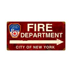 From the New York City licensed collection, this FDNY Arrow vintage metal sign measures 24 inches by 12 inches and weighs in at 3 lb(s). We hand make all of our vintage metal signs in the USA using heavy gauge american steel and a process known as sublimation, where the image is baked into a powd...