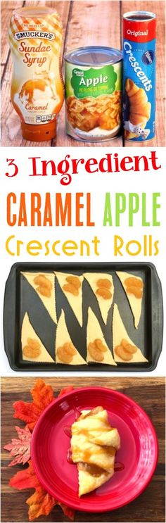 Just 3 ingredients and you'v… Easy Caramel Apple Crescent Roll Bites Recipe! Just 3 ingredients and you've got the perfect Fall dessert! Apple Crescent Rolls, Crescent Roll Recipes, Crescent Roll Apple Turnovers, Pilsbury Crescent Recipes, Cresent Rolls, Fall Desserts, Delicious Desserts, Yummy Food, Apple Desserts