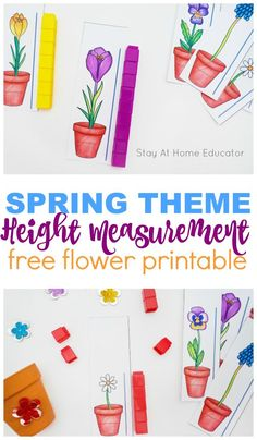 A hands on flower themed measurement printable for preschoolers. This is fantastic for math centers or small group work in the Spring for preschoolers. Free spring theme printable for preschoolers. Teach measurement in preschool with free printable flower Free Preschool, Preschool Themes, Kindergarten Activities, Seeds Preschool, Printable Flower, Free Printable, Measurement Activities, Number Activities, Spring Theme