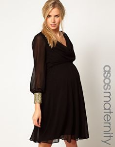 Enlarge ASOS Maternity Midi Dress With Cowl Back And Embellished Cuffs