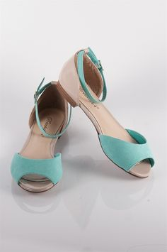 Colorblock Open Toe Flats with Ankle Strap - Mint from Sandals at Lucky 21 Lucky 21 Jeweled Shoes, Open Toe Flats, Ladies Shoes, Summer Shoes, Ladies Fashion, Womens Flats, Heeled Mules, Ankle Strap, Eyewear