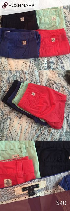 "Set of 4 Tommy Hilfiger Shorts w/5"" Inseam Set of 4. Size 2. Tommy Hilfiger shorts with 5"" inseam in navy, cobalt, aqua and watermelon. Tommy Hilfiger Shorts"