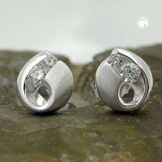 Stecker, Zirkonia, teilmatt, Silber 925 accessorize24-90815