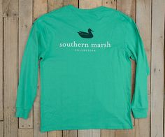 Southern Marsh Collection — Authentic Vibrant Tee - Long Sleeve color// jockey green size// small