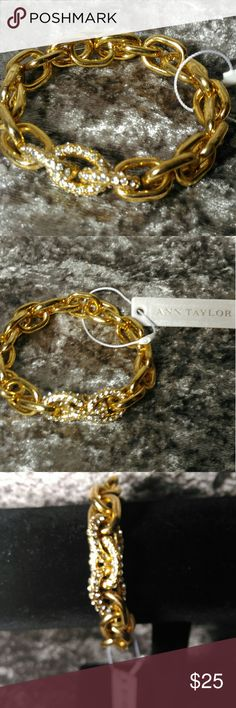 NWT Ann Taylor Chain & Crystal Stretch Bracelet Brand New With Tags golden curb chain stretch bracelet with 3 crystal encrusted links. Interior of bracelet is 6.5 in un-stretched. My wrist is about 7 in around and it easily & comfortably fits, and there is more stretch available. It will fit a wide range of wrist sizes. Thank you for visiting my closet. I always entertain offers and I love to bundle and give you even deeper discounts. Thanks again & Happy Shopping! Ann Taylor Jewelry…