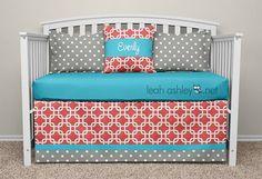 Crib Bedding Set  Coral Turquoise Gray  Cora by leahashleyokc