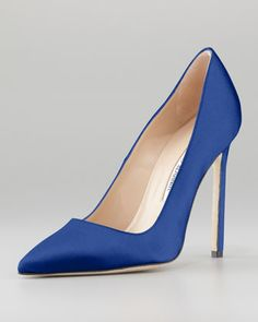 BB Satin 115mm Pump, Cobalt (Made to Order) by Manolo Blahnik