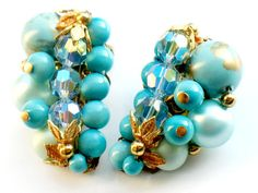 Turquoise Blue Cluster Earrings Vintage Aurora Borealis Gold 1950s Collectable Jewelry Vintage Clip On Earrings Blue Gold Possible D & E by JewelryQuestDesign, $31.99