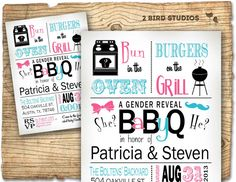 Gender reveal invitation- baby q barbecue baby shower for gender reveal party bbq- DIY printable invitation