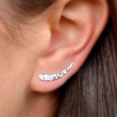 Sterling Silver .925 Ocean Wave Ear Climbers Earrings Gift Surfer Beach Lover