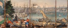 """Zuber's grandest panoramic wall papers (papier peint) is a set of American landscapes, """"Les Vues de L'Amérique du Nord"""" (Views of North America), it requires 1,690 different woodblocks and 223 colors first printed in 1834.  Panels by Jean Zuber's """"Scenes of America"""" series, here """"Boston Harbor""""."""