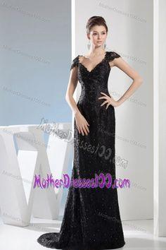 Black Brush  Sweep Train Lace Beading V-neck Evening Dress -Wedding    Events-Special Occasion Dresses-Evening Dresses 85c092751