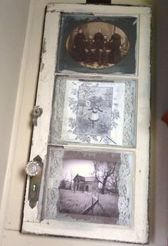 Fun Window scape...old cabinet door used to frame..old vintage pictures...