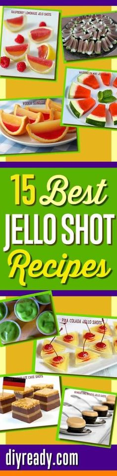 Best Jello Shot Recipes and Cool Drink Ideas for Cocktail Parties. How To Make Creative Jello Shots from Scratch! Watermelon, Pina Colada, Raspberry Lemonade, Vodka Sunrise, even German Chocolate Cake Jello Shots - Best Homemade Recipes. Snacks Für Party, Party Drinks, Fun Drinks, Alcoholic Drinks, Cocktail Parties, Liquor Drinks, Vodka Drinks, Gelatina Jello, Best Jello Shots