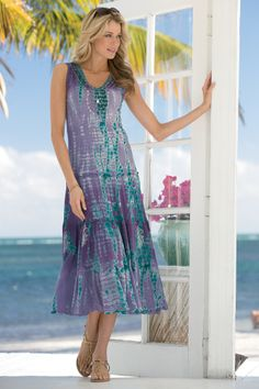 Long Tie-Dye Print Tiered Dress | Chadwicks of Boston Summer 2014 Collection