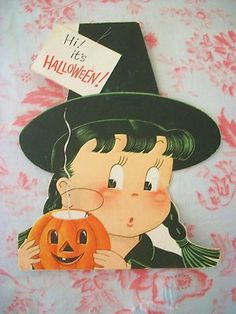 """Vintage Halloween Greeting Card ~ Witch w/ Jack O' Lantern by Norcross. Signed """"Lots of love from Mimi""""."""