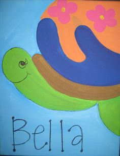 Turtle Painting with name - All paintings are taught at Painting and Pinot - Baton Rouge