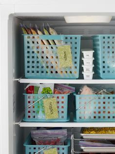 Plastic storage baskets become a smart space-saver inside a crowded freezer. Use the baskets to organize foods by type (such as frozen pizzas in one, bags of vegetables in another). #storage #basketstorageideas #foodstorage #refrigeratororganization #bhg Freezer Organization, Freezer Storage, Kitchen Organization, Storage Organization, Organize Freezer, Storage Ideas, Organizing Ideas, Freezer Meals, Freezer Cooking