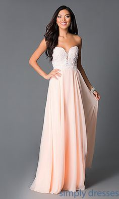 Shop long peach formal gowns at Simply Dresses. Strapless long chiffon prom dresses with embroidered sweetheart bodices and lace-up corsets.