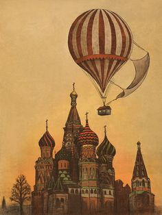 Hot air balloon over Russia? Does anyone have an artist's name for this lovely piece?
