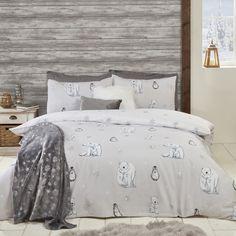 Polar Bear and Penguin Printed Duvet Cover and Pillowcase Set Grey Duvet Set, Duvet Sets, Polar Bear, Penguins, Home Furnishings, Duvet Covers, Master Bedroom, Pillow Cases, Colours