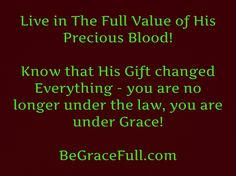 The value of His Precious Blood can never be understated or underestimated!