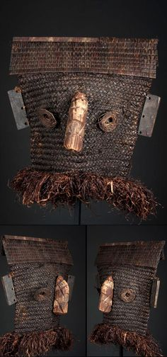 Africa | Fiber mask from the Binji people of DR Congo; woven fiber, wood