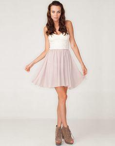 Motel Annali Strapless Cream Bustier Dress in Natural