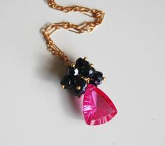 Gemstone Cluster Pendant necklace  Hot Pink by ferozasjewelery, $55.00