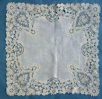Antique Brussels Duchesse and Point de Gaze lace handkerchief  - rosebud sprays