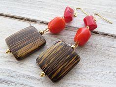 Red and orange coral earrings wooden earrings brown drop