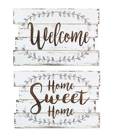 'Welcome' & 'Home Sweet Home' Wall Sign Set