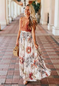 Go for a walk while the sunshines with this floral maxi. Passionate red flowers take bloom on this maxi and add tons of glam to your already posh appearance!    - Floral pattern  - Elastic waistband  - Asymmetric hemline  - Lined  - 100% Polyester  - Hand wash cold            Size  Length  Waist      XS-S  cm  100-105  58-68      inch  39.5-41.5  23-26.5      M-L  cm  100-105  70-80      inch  39.5-41.5  27.5-31.5      XL-XXL  cm  100-105  82-92      inch  39.5-41.5  32-36 Girly Girl Outfits, Cute Outfits, Casual Outfits, Fashion Outfits, Unique Fashion, Cute Dresses, Summer Dresses, Beach Dresses, Printed Maxi Skirts