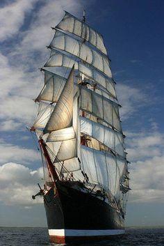 TALL SHIP SEDOV sails into Cornwall (Kernow) UK