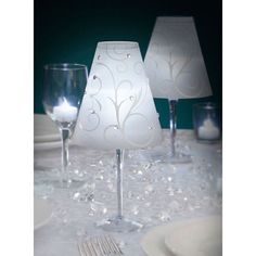 Christmas Table Decorations - Wine Glass Lampshade and LED tea-light. Slide shade over glass with battery tea light inside and voila - a beautiful atmospheric table lamp. Turn ordinary Wine or Champagne Glasses into elegant centerpiece table lamp decorations. | eBay!