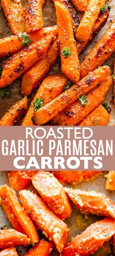 Garlic Parmesan Carrots - Roasted carrots tossed with a delicious garlicky and buttery parmesan cheese coating.Roasted Garlic Parmesan Carrots - Roasted carrots tossed with a delicious garlicky and buttery parmesan cheese coating. Healthy Side Dishes, Vegetable Dishes, Vegetable Recipes, Vegetarian Recipes, Cooking Recipes, Vegetarian Grilling, Healthy Grilling, Garlic Parmesan, Roasted Garlic