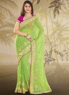 Remarkable Green Faux Chiffon #Saree