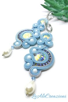 Light blue soutache earrings. Handmade soutache jewelry. Orecchini in soutache, gioielli fatti a mano. Длинные сутажные серьги.