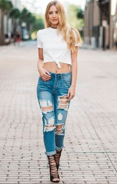 Destroyed Boyfriend Jean are high waisted with a 10 rise. - Machine Wash Cold - Fits True To Size - Model is 58 Wearing Size S - Cotton Torn Jeans, Skinny Jeans, Sexy Jeans, Jean Outfits, Casual Outfits, Teen Pants, Fashion Pants, Fashion Outfits, Women's Fashion