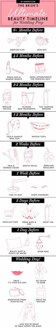 The Bride's Ultimate Beauty Timeline for Wedding Prep