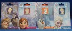 Disney Parks Frozen Elsa Anna Kristoff Olaf LR 4 Pin Set on 4  Empty Gift Cards  #DisneyParks