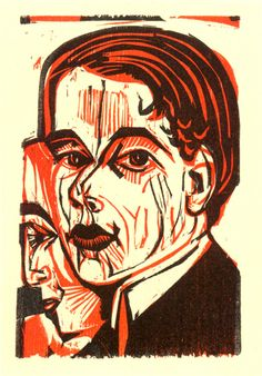 Ernst Ludwig Kirchner (German, 1880-1938),  Männerkopf - Selbtsbildnis, 1926. Color woodcut,  16.5 x 10.7 cm.