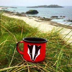 Designed in Österreich, handgefertigt in Polen Farbe Emaille Tasse: rot mit schwarzem Rand und schwarzem Henkel Dachsmotiv: schwarz & weiß 350ml / 12oz Electric Stove, Gas And Electric, Mug Designs, Woodland, Im Not Perfect, Enamel, Camping, Mugs, Coffee
