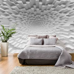 Wallpaper with 3D effect can move your bedroom to completely different dimension! Try fashionable modern look