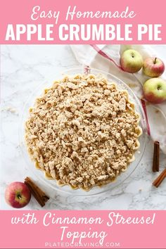 Apple Crumble Pie is made with a tender crust filled with juicy, spiced apples and topped with a delicious, buttery streusel. A perfect fall dessert! Easy Pie Recipes, Apple Pie Recipes, Sweet Recipes, Baking Recipes, Dessert Recipes, Apple Pie Recipe Video, Mrs Smith Apple Pie Recipe, Apple Pie Recipe With Crumb Topping, Gala Apple Pie Recipe