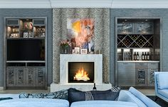 Pin By Closet Factory On Wall Units Bars For Home Wall Mount Gas Fireplace Livi… - entertainment center ideas living room Media Wall Unit, Built In Wall Units, Built In Bar, Built In Cabinets, Built Ins, Base Cabinets, Modern Cabinets, Living Tv, Living Room
